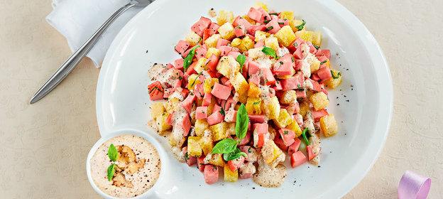 Салаты из варёной колбасы рецепты с простые