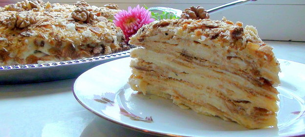 Торт наполеон на сметане с заварным кремом