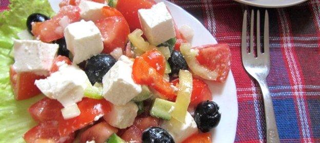 Фото салат греческий рецепт пошагово в