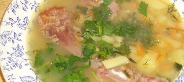 Рецепт горохового супа с копченостями с пошагово в